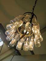 light made from Bottles at cafe